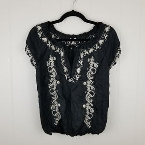 Joie Harmony Embroidered Smocked Peasant Blouse